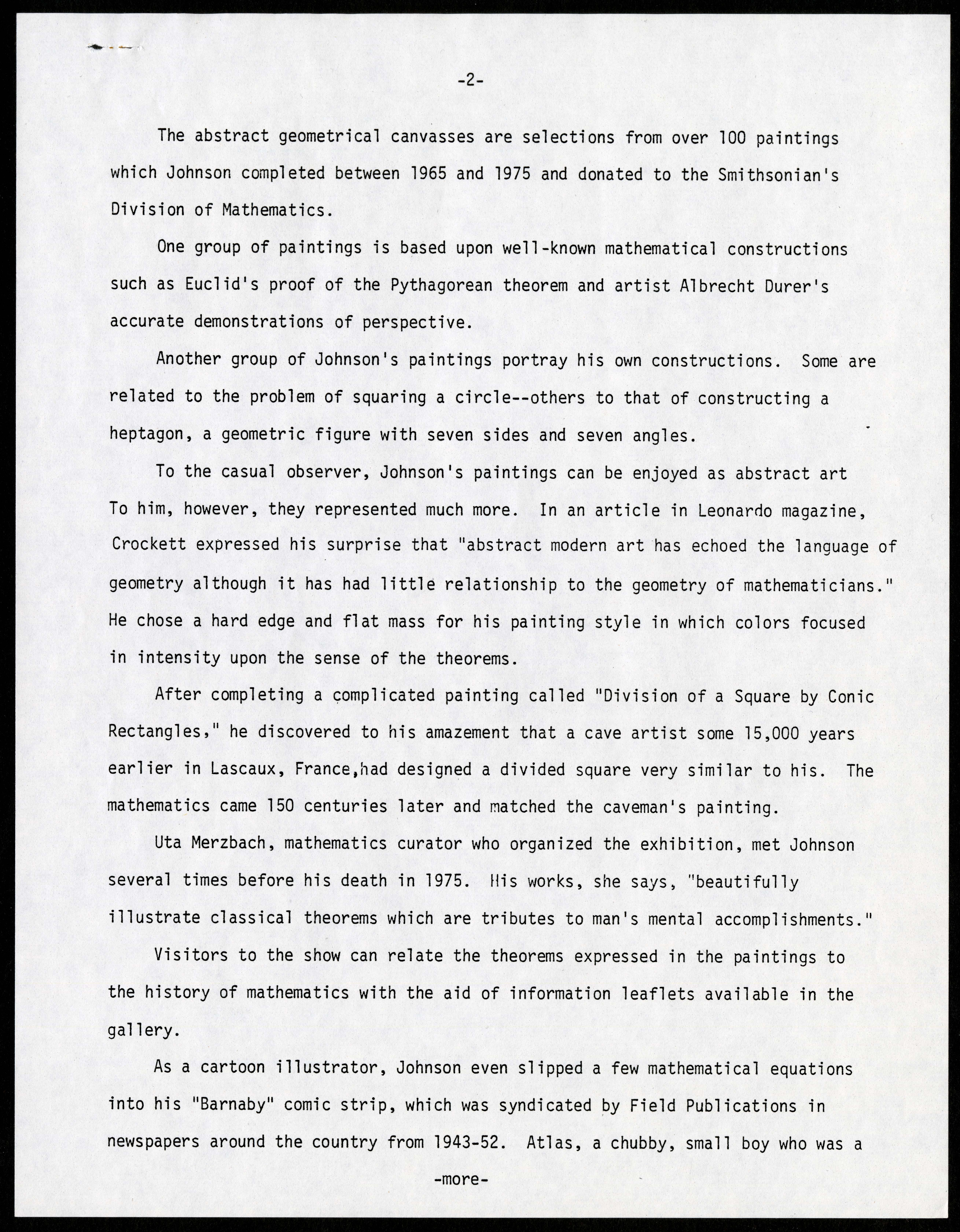 Scan of a type written document on white letter paper