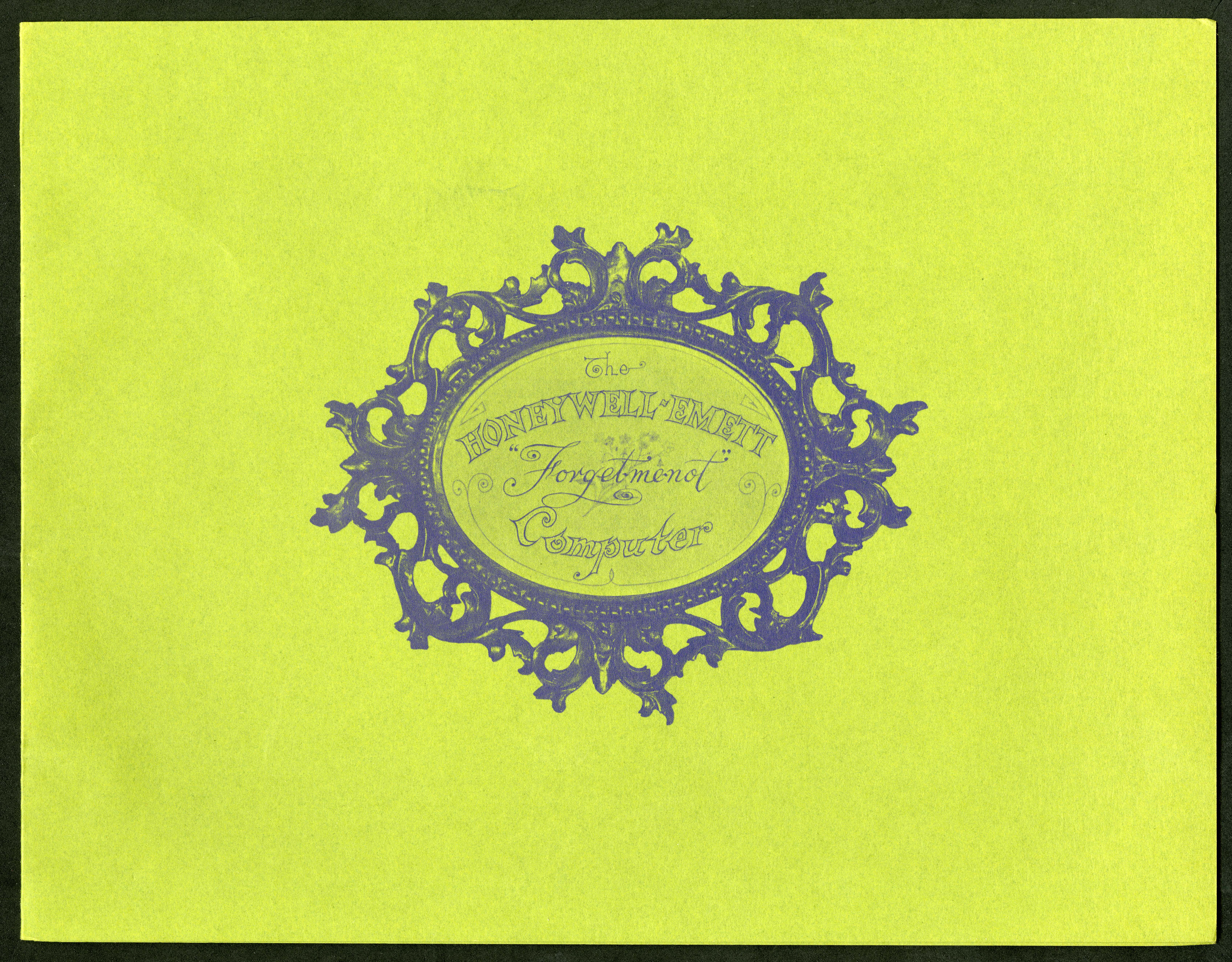 Scan of a lime green brochure cover, with the Honeywell logo in the center