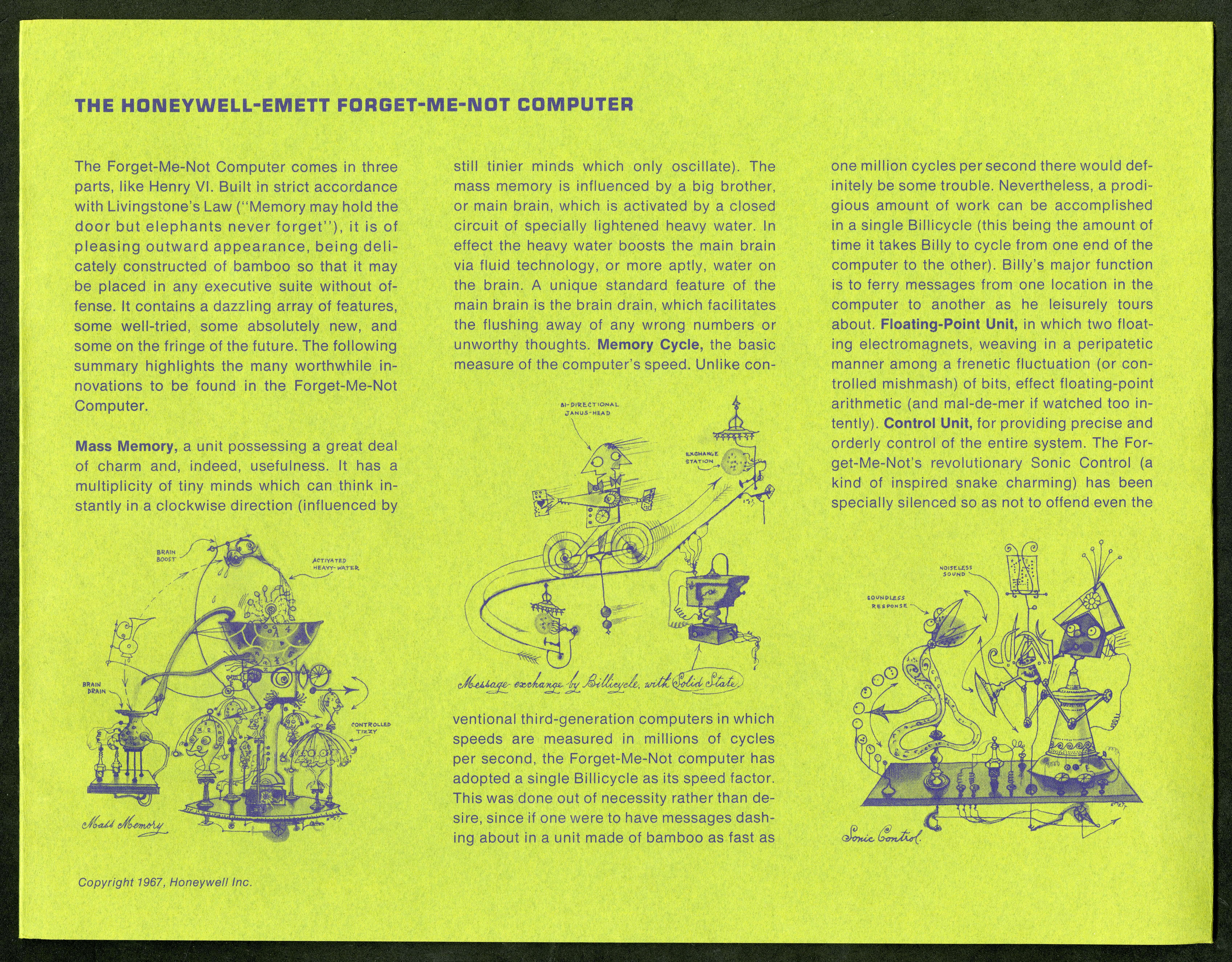 Scan of the inside of a lime green brochure with a drawings of cartoon versions of computers below t