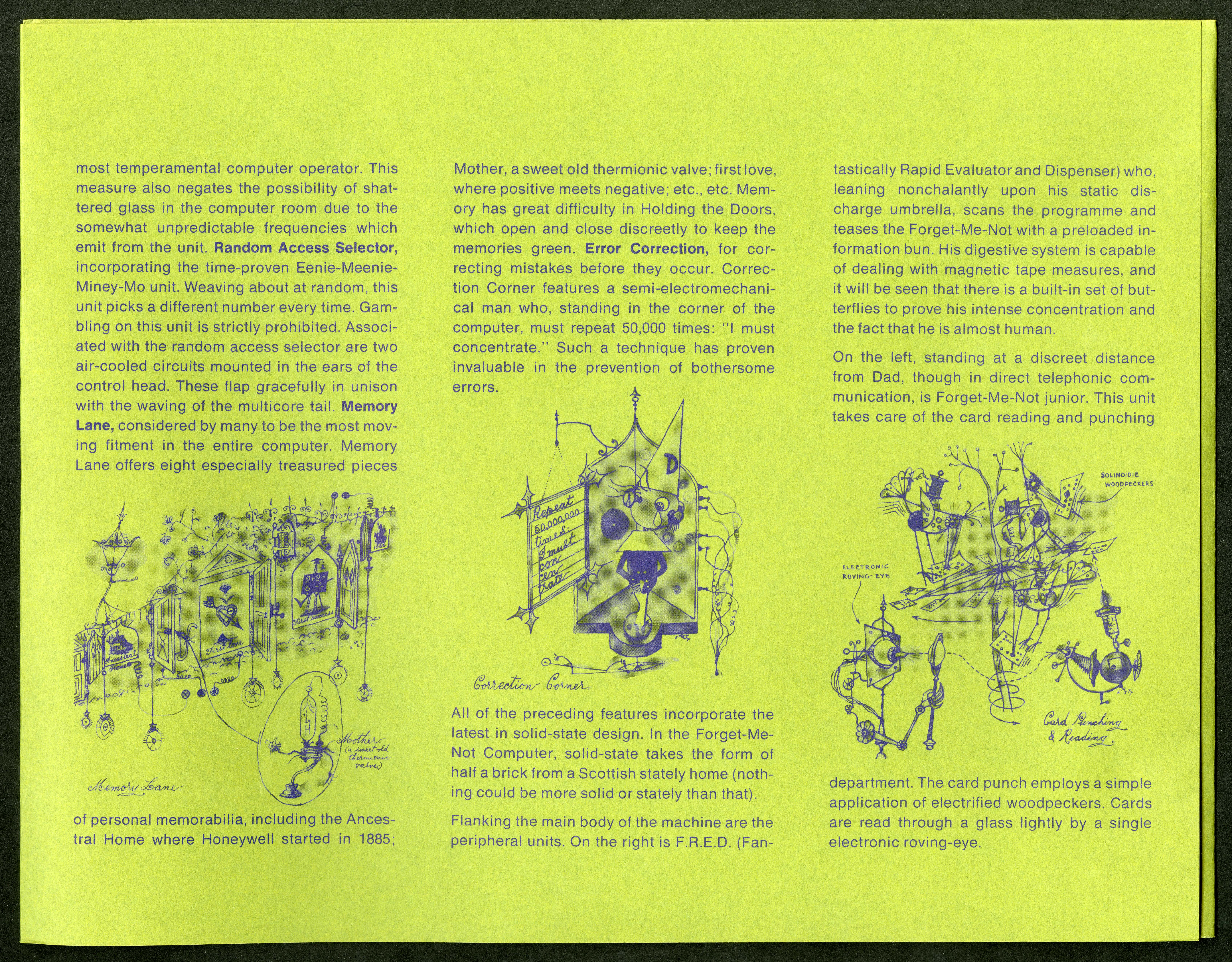 Scan of the inside of a lime green brochure with a drawings of cartoon versions of computers inline