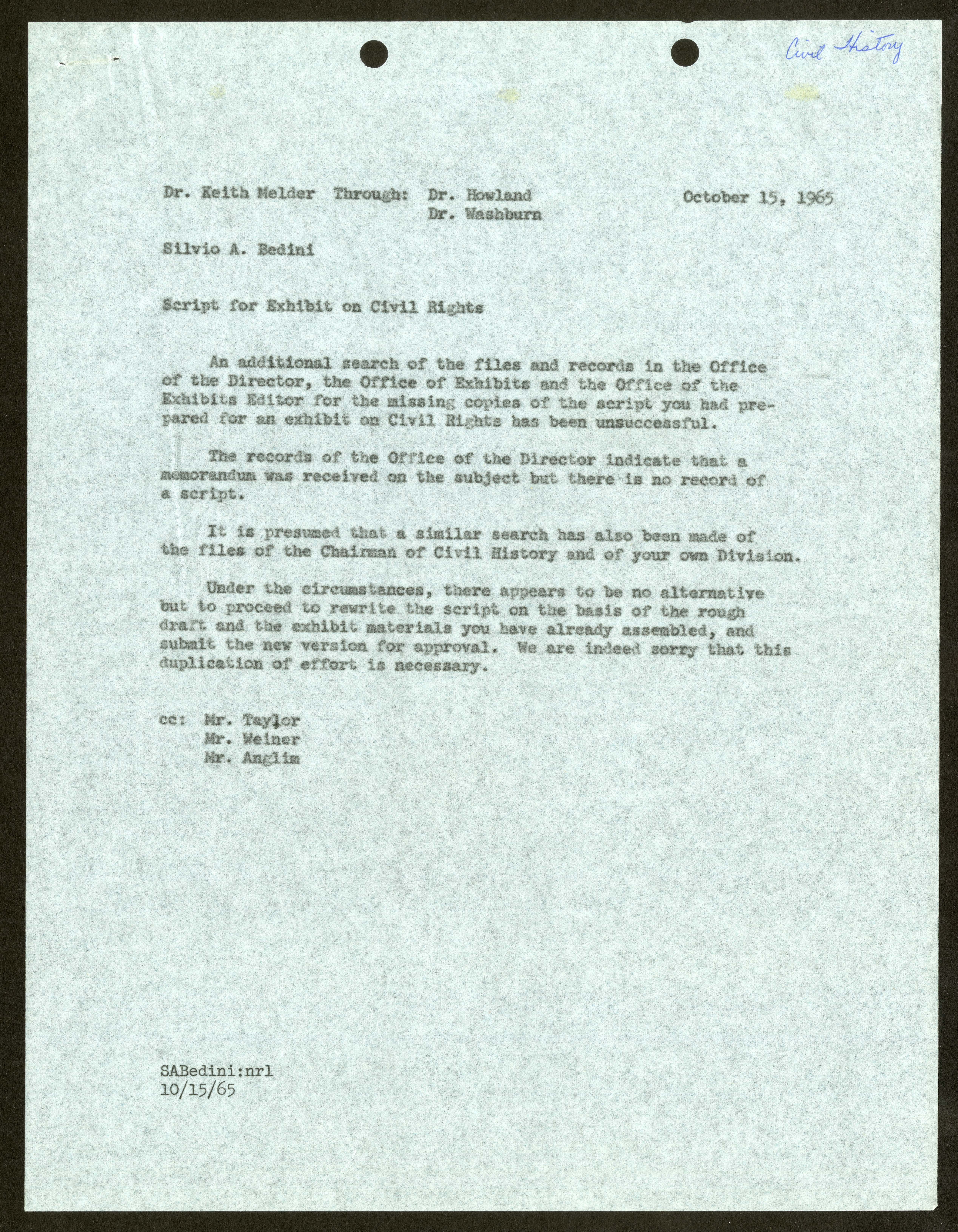 Typed memorandum on blue paper.