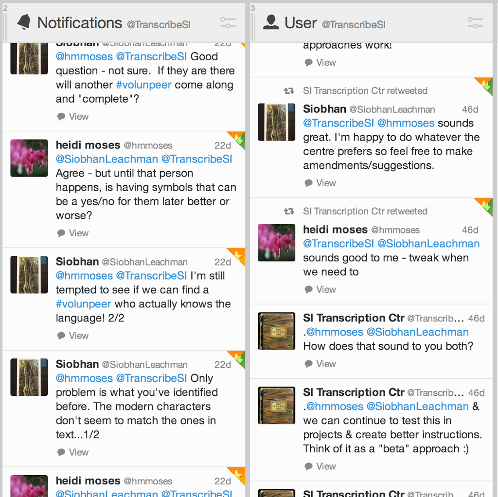 Twitter conversation at the Smithsonian Transcription Center to clarify some questions about transcription.