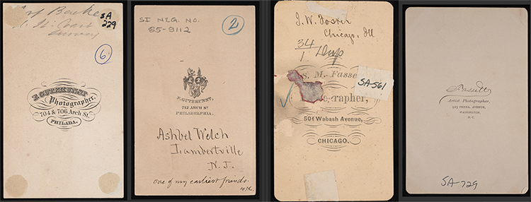 Card mounts used by photographers Frederick Gutekunst and Samuel Montague Fassett showing changing a