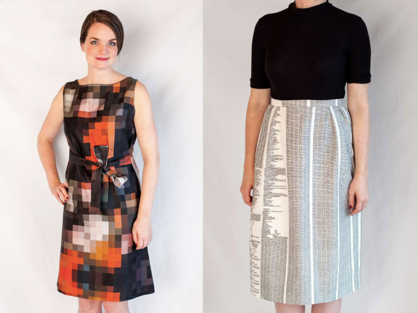 Color photo of woman wearing dress made of pixelated fabric alongside woman wearing skirt with text