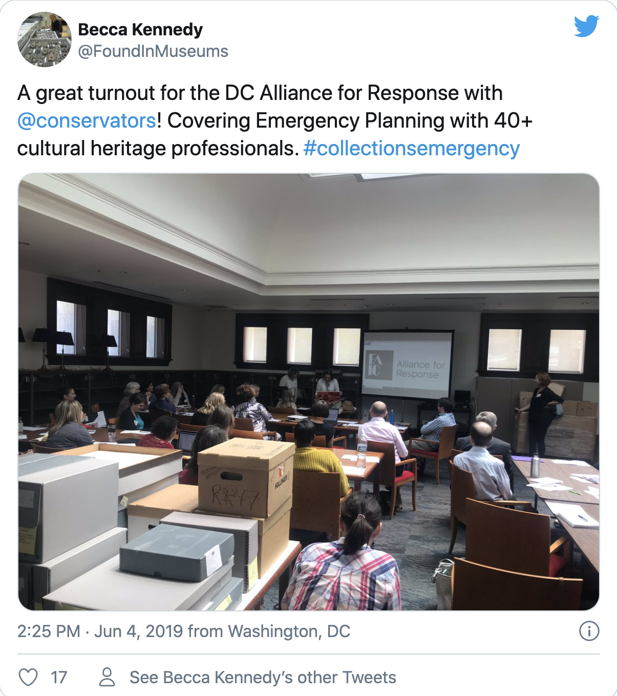 Screenshot of a Twitter thread about a DC Alliance for Response workshop.