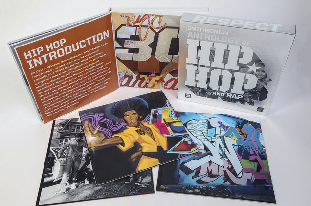 "Graphics for album with chunky ""Hip Hop"" typeface and colorful graffiti."
