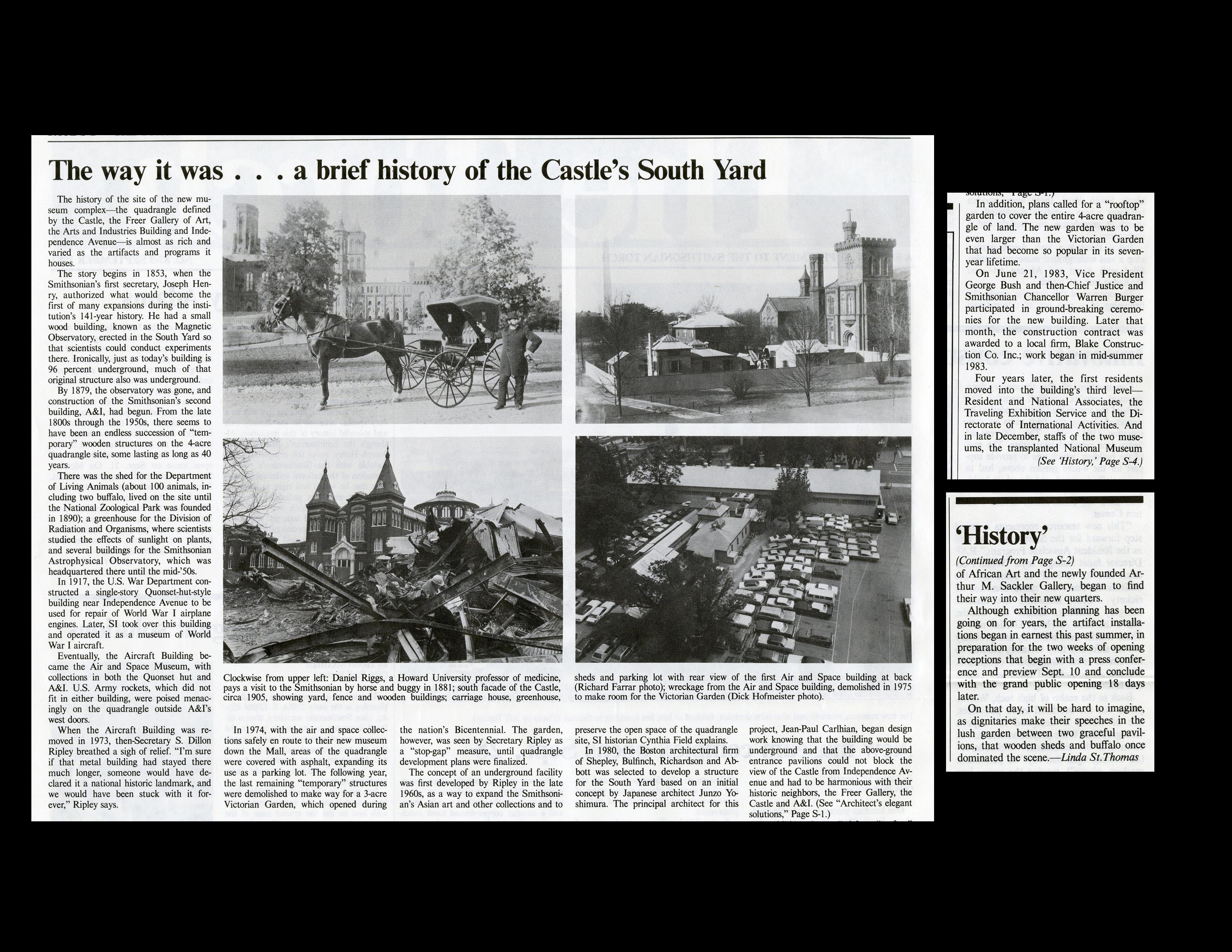 """The way it was . . . a brief history of the Castle's South Yard"" - Quadrangle Special Supplement, T"
