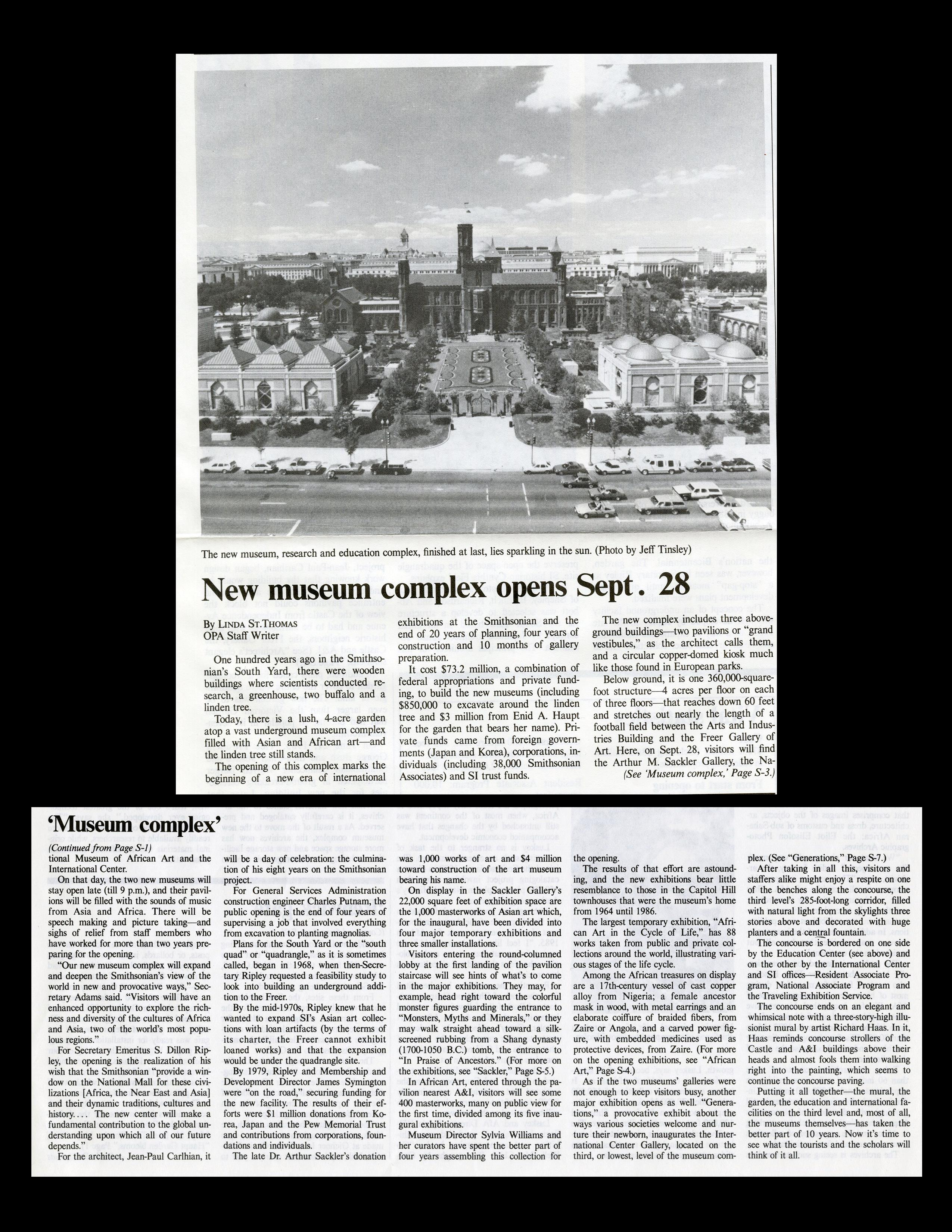 """New museum complex opens Sept. 28"" - Quadrangle Special Supplement, The Torch, September 1987, no."