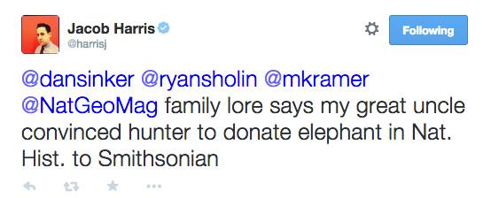 Tweet sent by Jacob Harris, 11/12/2014.