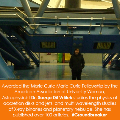 Awarded the Marie Curie Fellowship by the American Association of University Women, Astrophysicist D