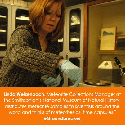 Linda Welzenbach, Meteorite Collection Manager at the National Museum of Natural History, distribute