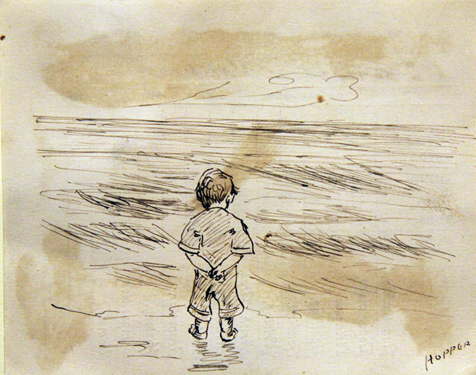 Black ink drawing of little boy from behind, walking on the seashore.