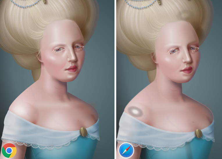Side by side comparison of a two color images of a woman in a blue dress on a gray background.