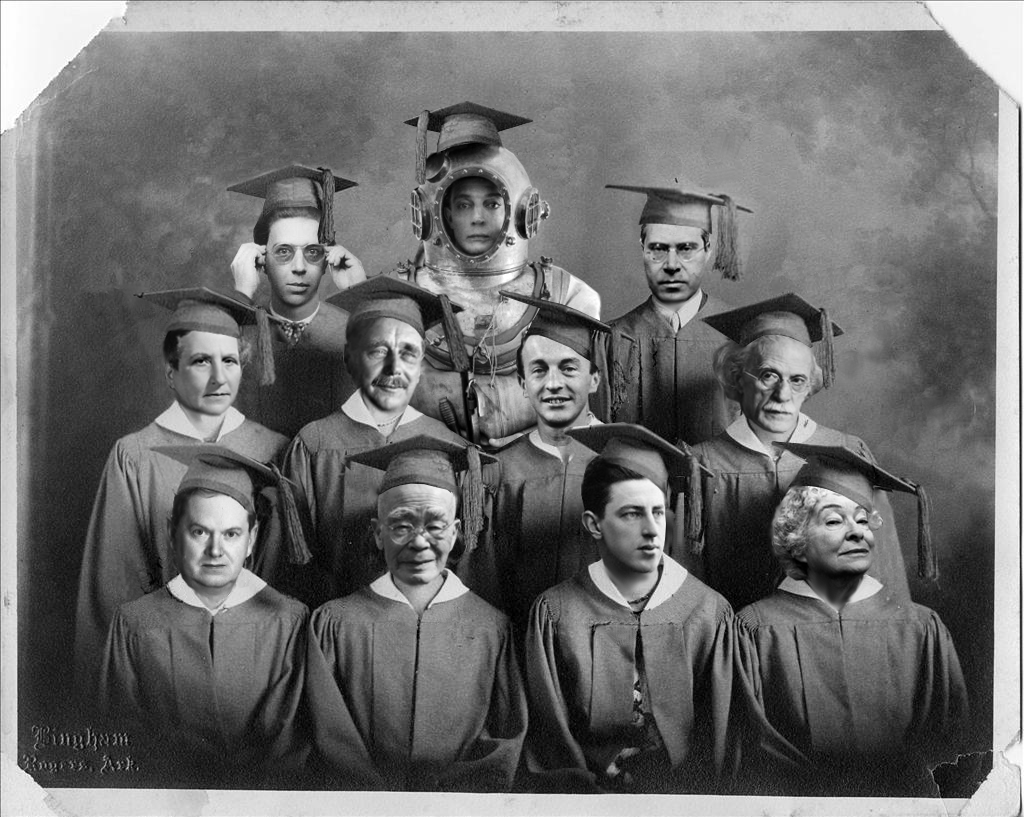 Photoshopped image of artists new to the public domain in graduation caps and gowns.