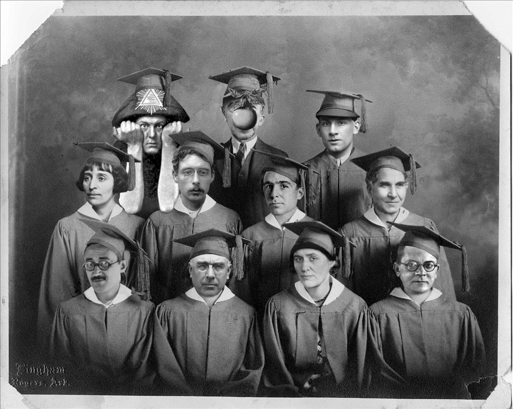 B&W photoshopped image of creators heads on figures wearing graduation gowns and hats