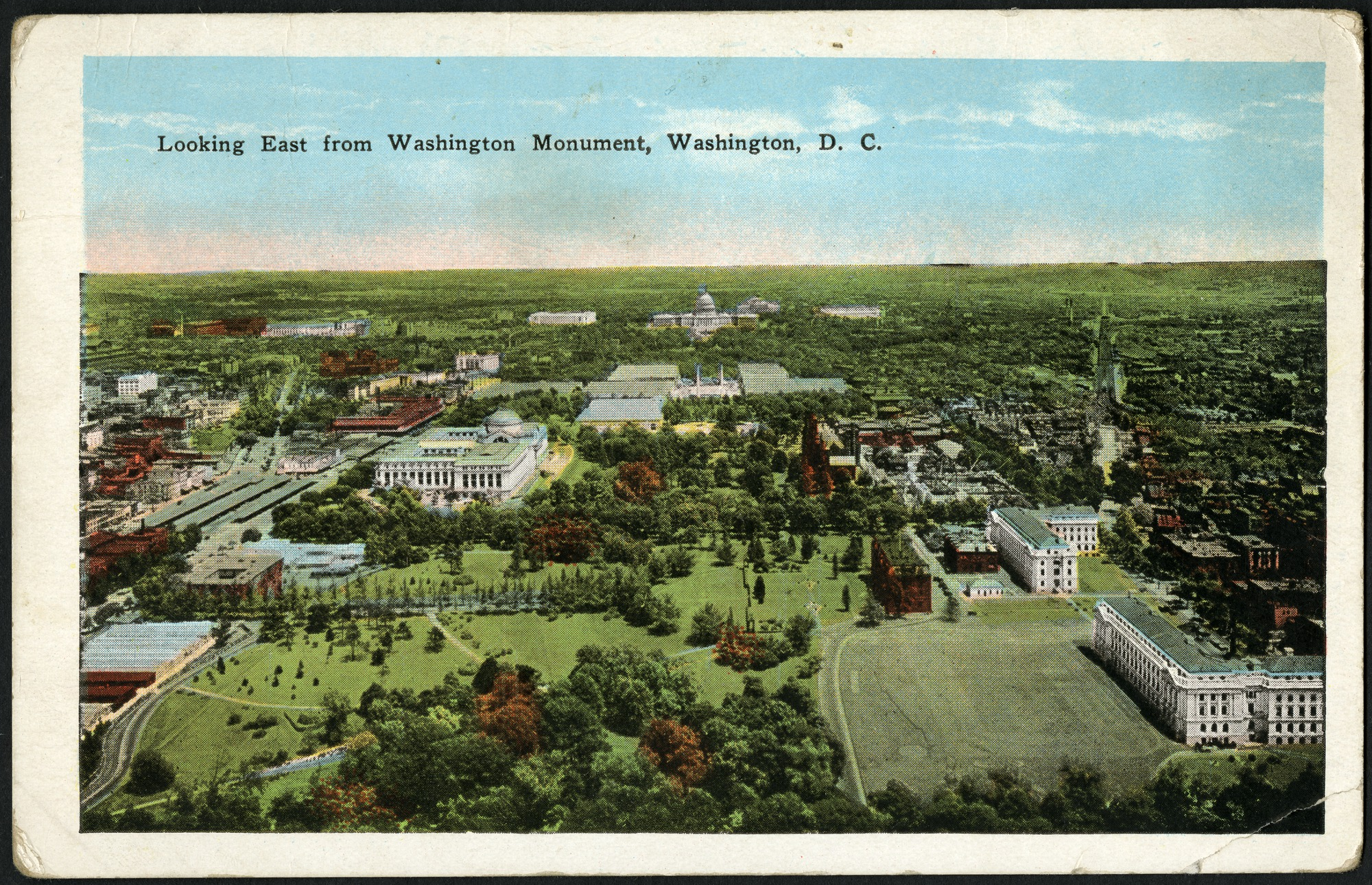 Postcard: Looking East from Washington Monument, c. 1915-1930, Garrison Toy & Novelty Company.