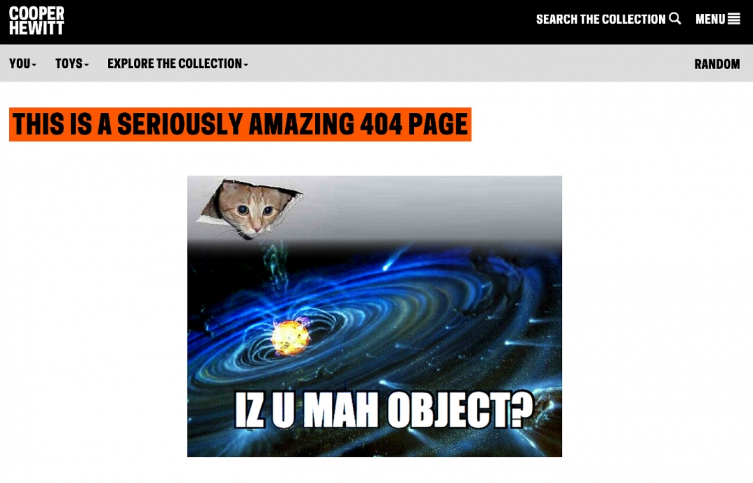 """Graphic of kitten popping through ceiling into outer space saying, """"IZ U MAH OBJECT"""""""