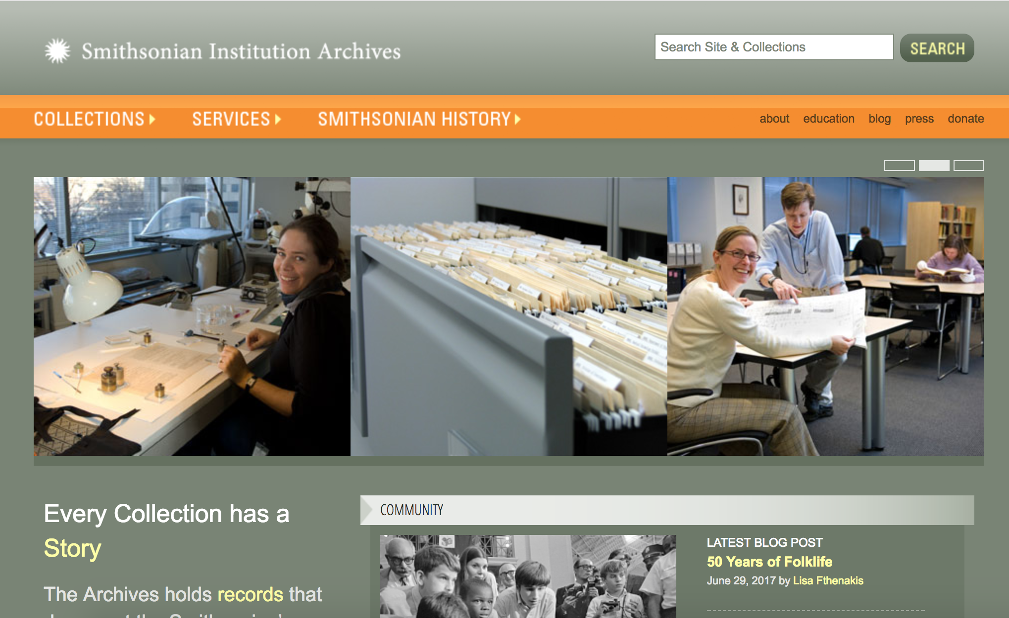 Screenshot of website with grey/green background, series of images of the Archives, and orange block