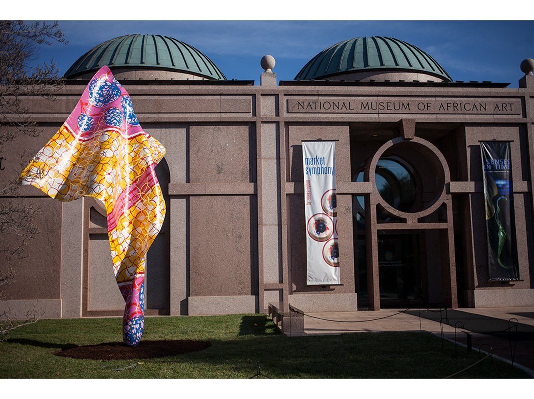 "Yinka Shonibare's ""Wind Sculpture VII"" in front of National Museum of African Art"