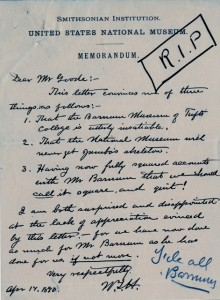Memorandum from William T. Hornaday to George B. Goode (click to enlarge), April 17, 1890, Smithsoni
