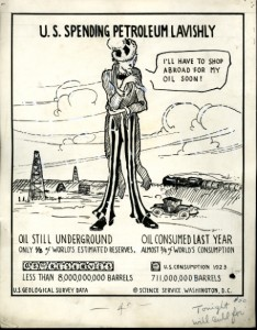 Cartoonograph about U.S. spending on oil, 1924, pen and ink drawing by Elizabeth Sabin Goodwin, Smit