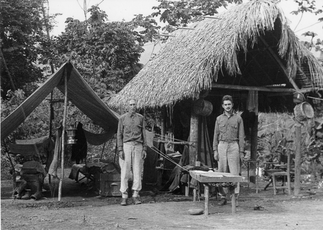 Meb and Mel Carriker collecting birds in the Beni River region of Bolivia, South America, 1934-1935.