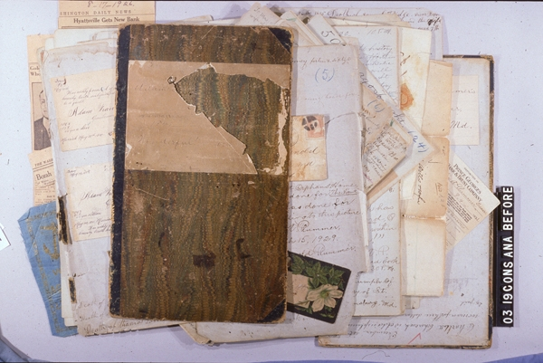The diary as it was received for condition examination.  Adam Francis Plummer manuscript,  AHC 2003.