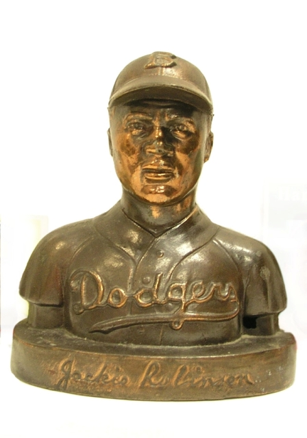 Bank (Jackie Robinson), c. 1950, Cast metal with bronze plating, 6 1/8 x 5 3/16 x 3 7/8 in., Collect