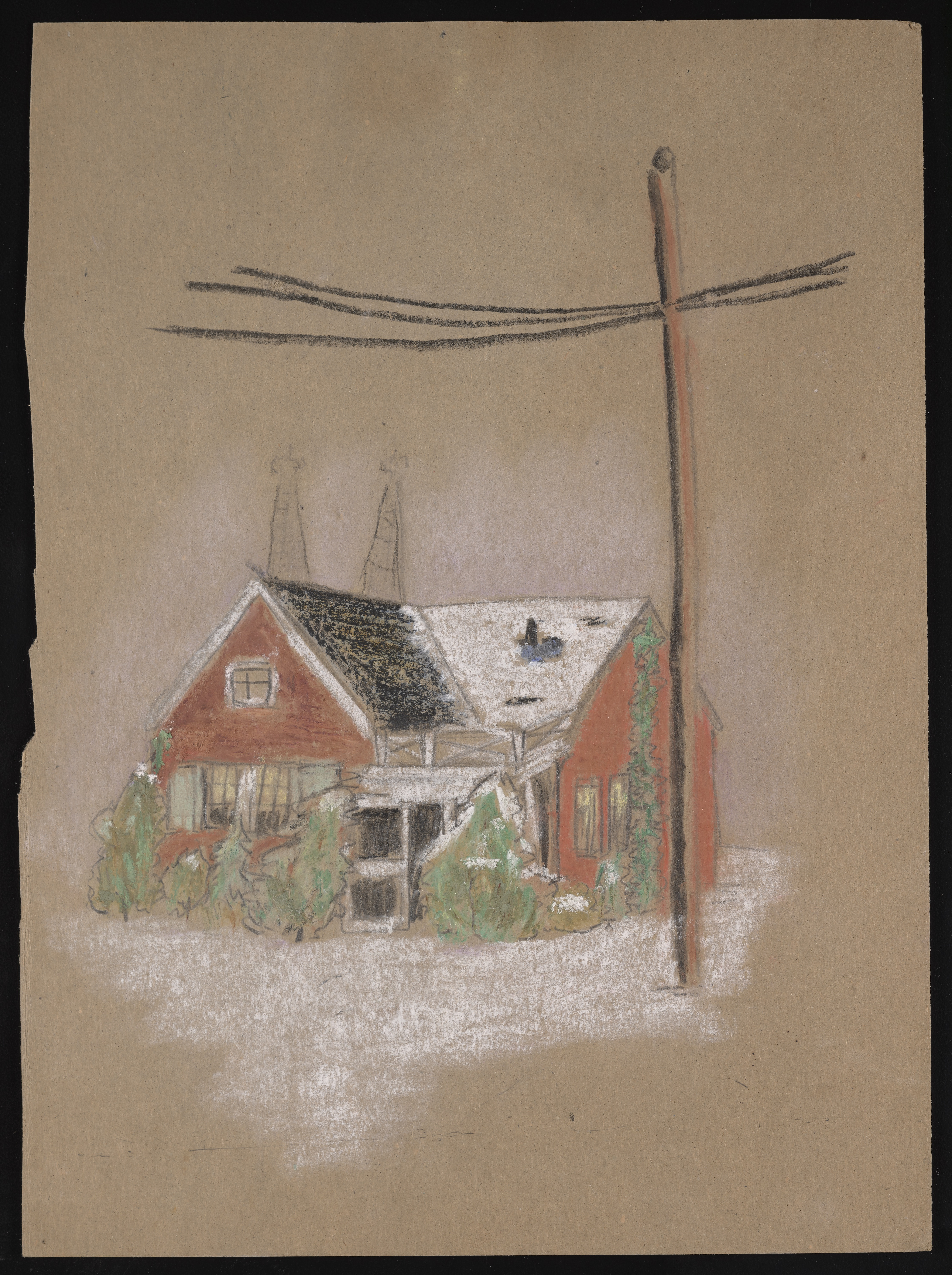 Color drawing on tan-colored construction paper, of a small red house with shrubs in front, lightly covered by snow. A telephone pole and cables are also present.