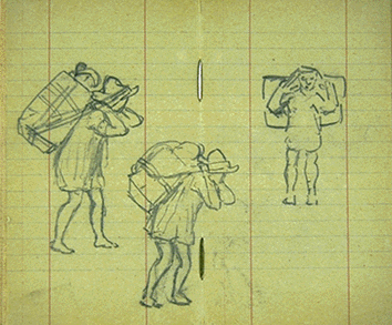 Three sketches on notebook paper of native peoples from Mexico carrying items on their backs