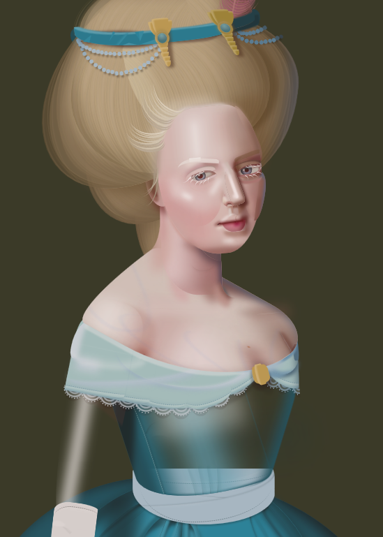 Digital drawing of a woman wearing a blue dress with a voluminous blond hairstyle.