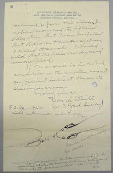 David White's Letter to the Smithsonian, Smithsonian Institution Archives