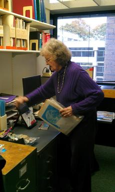 Ursula B. Marvin at her Smithsonian Astrophysical Observatory office, October 2012. Courtesy of Tamm