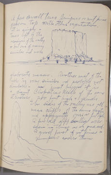 Drawings of mesas seen in New Mexico, August to November 1906 Vernon Bailey field book, Record Unit