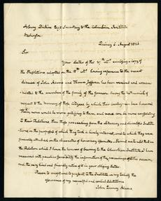 Letter from John Quincy Adams, dated August 6, 1826, written to members of the Columbian Institute.