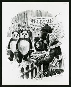 Illustration of Smokey Bear and family welcoming the pandas to National Zoo, 1972, painted by Rudolp