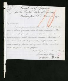 Letter from Mori to Henry,  March 2, 1872, Smithsonian Institution Archives, Record Unit 26, Box 39,