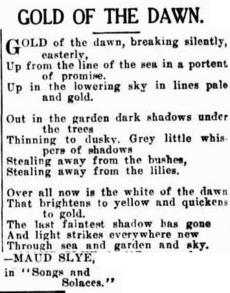GOLD OF THE DAWN. (1934, June 11). Advocate (Burnie, Tas. : 1890 - 1954), p. 2. Retrieved March 23, 2012.
