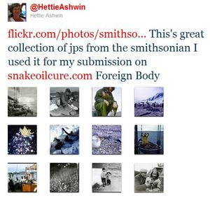 A tweet from Hettie Ashwin mentioning her writing.