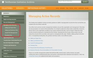 A screenshot of records management resources that many may find useful at ho