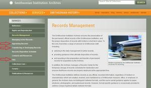 A screenshot of records management resources that may be useful to information m