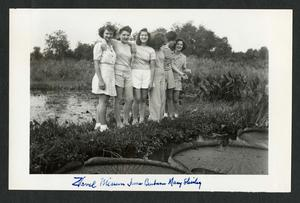 Zavelle, Miriam, June, Barbara, Mary, and Shirley on a Sunday at the lilly pond, c. 1942, black-and-