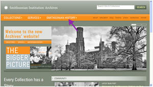 Smithsonian History Link on SIA Home Page