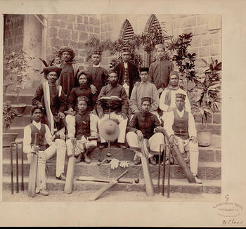 Group of Men, Hindu Cricket Players, in Costume with Cricket Bats