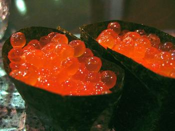 Salmon roe sushi.