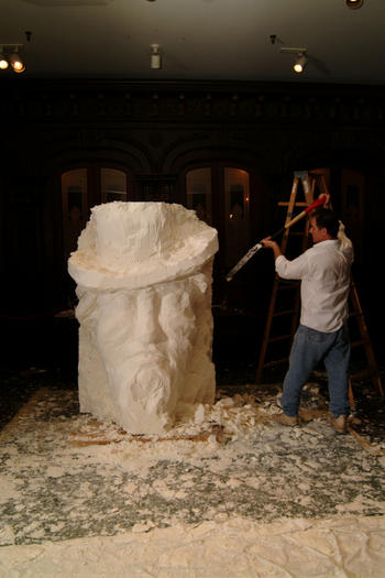 Soap sculptor Gary Lawrence Sussman carves a bust of Uncle Sam.