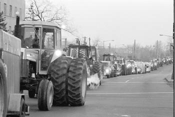 Tractor convoy heads into Washington, DC, February, 1979.