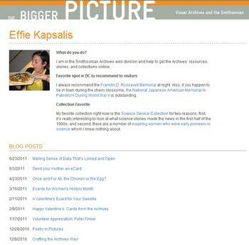 Screenshot of Effie Kapsalis' blog author profile.