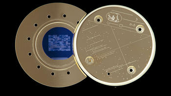 An archival disc created by artist Trevor Paglen containing 100 images to be launched into orbit abo