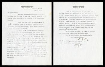 wang-zung Tung correspondence to John Ellerton Lodge confirming his appointment at the Freer, 1923,